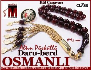 altın imame püsküllü osmanlı sıkma kehribar tesbih 001