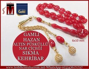 altın püsküllü kehribar tesbihler 012