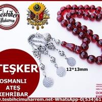OSMANLI ATEŞ KEHRİBAR TESBİH 12*13 mm ATEŞKER (TM5637)