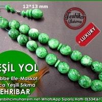 Bileklik Maskot Efe Kehribar Tesbih 12*13 mm Yeşil Yol  Ürün Kodu: TM7688
