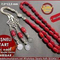 Osmanlı Kolye Model Eski Usül Sıkma Kehribar Tesbih 7,5*12,5 mm Vişneli Tart Ürün Kodu: TM7665