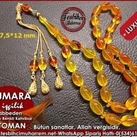 On Numara Altın Püsküllü 7,5*12 mm Habbeden Renkli Osmanlı Sıkma Kehribar Tesbih Ürün Kodu: TM7816