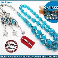 Özgün Gümüş Tasarım Püskül Deniz Mavisi 7*10,5 mm Ateş Kehribar Tesbih Çanakkale Ürün Kodu: TM7966