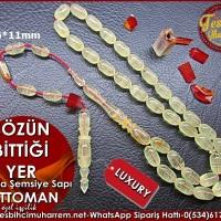 Özel İşçilik Antika Şemsiye Sapından Osmanlı Sıkma Kehribar Tesbih 6x11 mm Sözün Bittiği Yer Ürün Kodu: TM8013