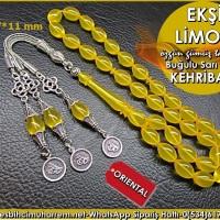 Özgün Gümüş Tasarım Beyzi Kesim Sarı 7*11 mm Ateş Kehribar Tesbih Ekşi Limon Ürün Kodu: TM7958