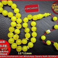 Özel İşçilik Müselles Sarı Sıkma Kehribar Tesbih Sarı Leblebi Ürün Kodu: TM8123