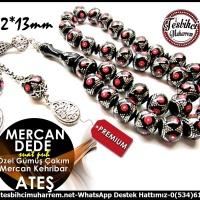 Oltu Kıvamında Premium Özel Mercan Gümüş Çakım Ateş Kehribar Mercan Dede(TM10438)