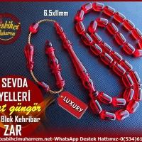 Tesbih Zar Kehribar Eski Blok Malzemeden Kırmızı Kapsül Kesim Sevda Yelleri(TM11320)